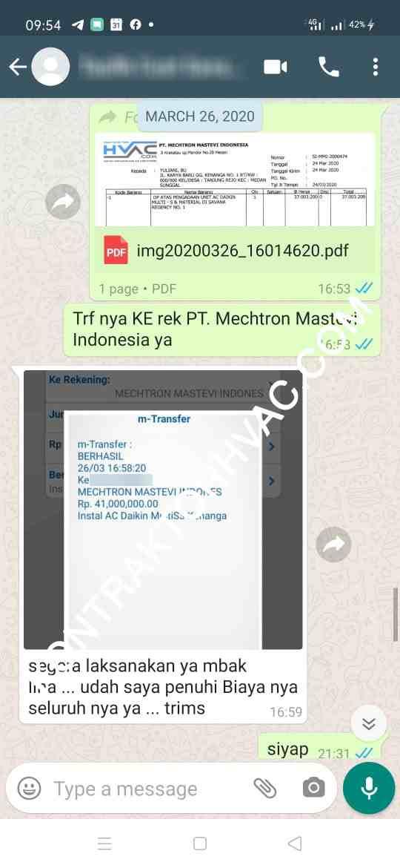 Bukti Transfer Daikin Promo Medan