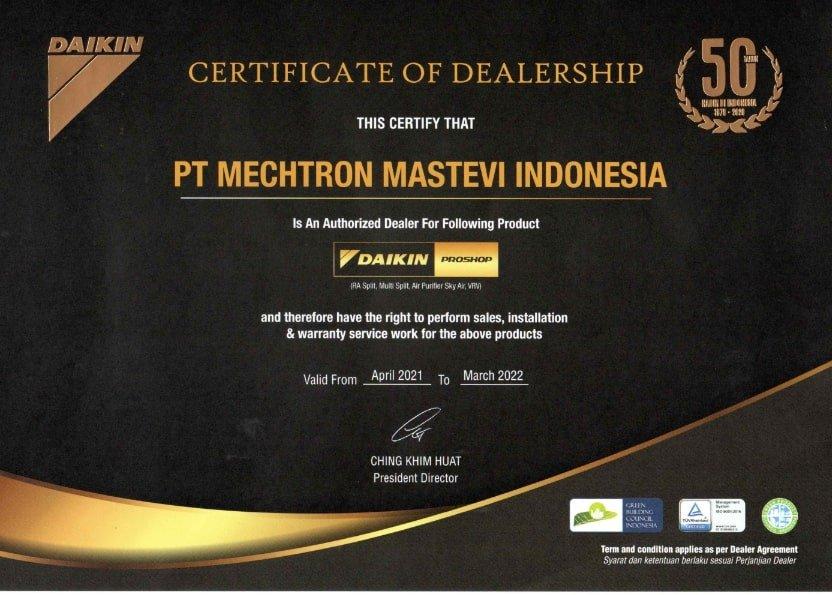 Sertifikat Daikin Proshop PT Mechtron Mastevi Indonesia-min